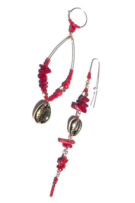 right to the point red coral & gold cowrie shell earrings