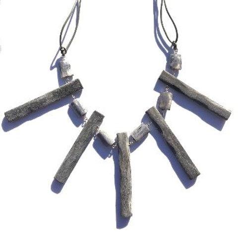 so much peace sterling silver, grey bone & horn neckpiece/belt