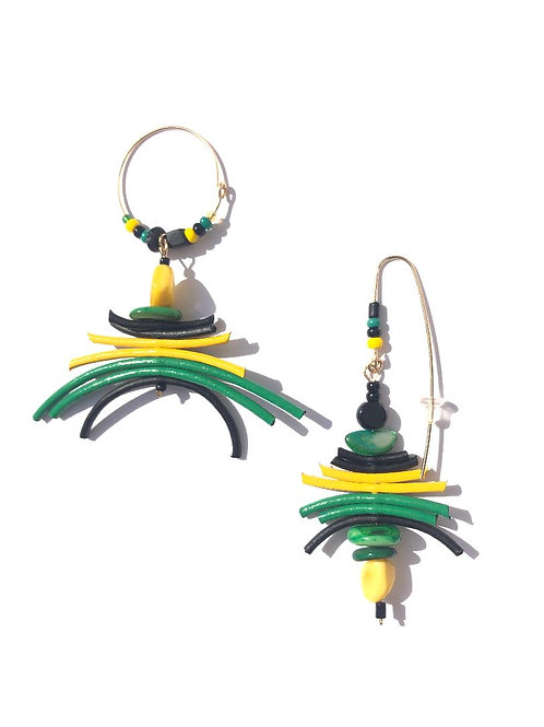breezy black gold & green leather & mother of pearl earrings