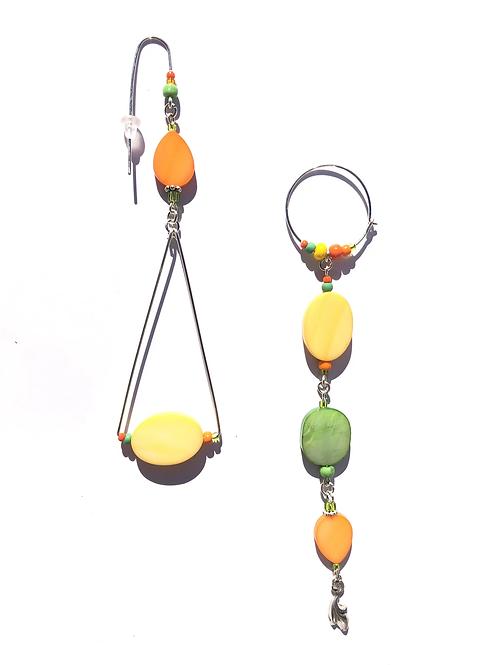 tangy lemon, lime & orange mother of pearl & sterling silver earrings