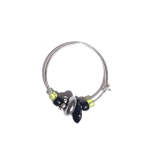 licorice & kiwi onyx & sterling silver mini hoop