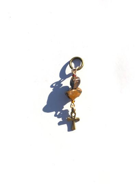 wildly moved tiger eye & brass ankh loc charm