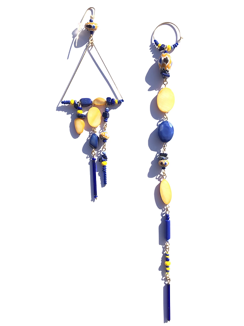 know what love is yellow mother of pearl, crystal & lapis lazuli earrings