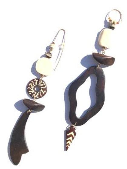 earth's delight palm wood & carved bone earrings