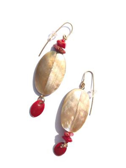 above the rest abalone shell, red coral & enamel earring