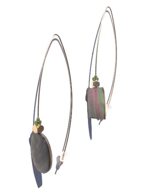 affirm yourself abalone shell oval & rectangle earrings