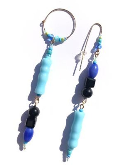day and night black onyx & blue cat's eye earrings