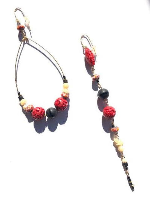 wild thoughts red cinnabar & onyx loop and straight earrings