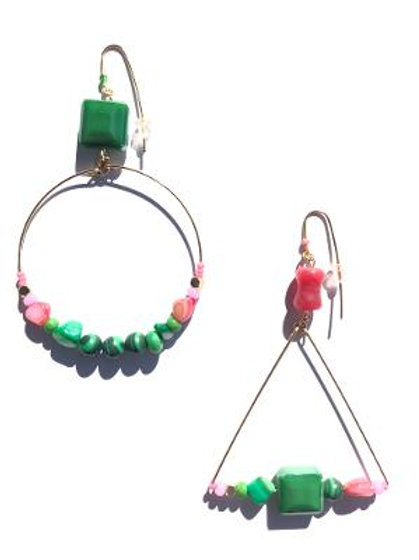 can't say no malachite & pink mother of pearl earrings