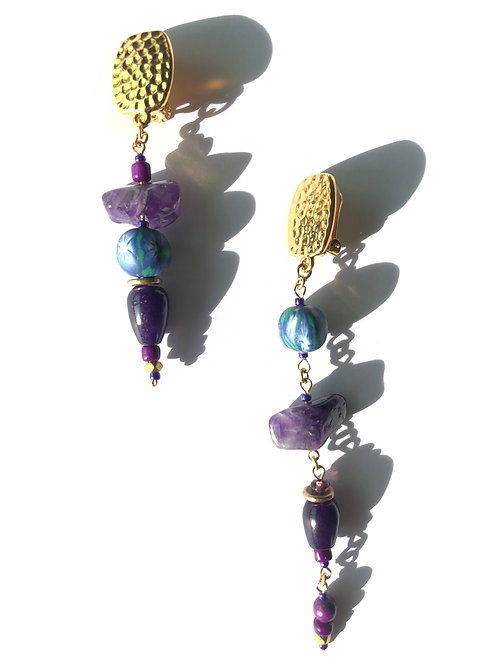 moonlight over paradise amethyst, polymer clay & jade clip on earrings