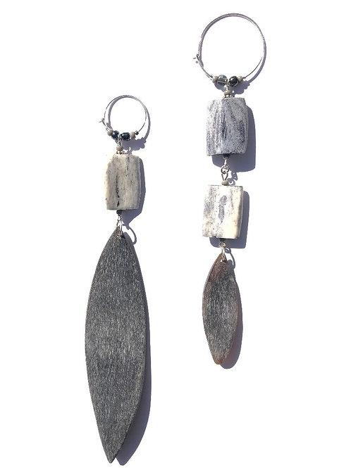 foxy silverness bone, horn leaves & sterling silver earrings