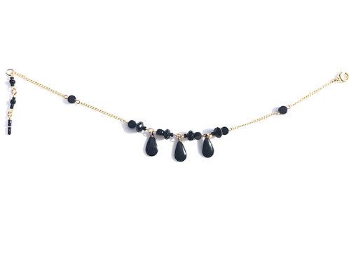 booming black onyx, enamel & glass ankle bracelet