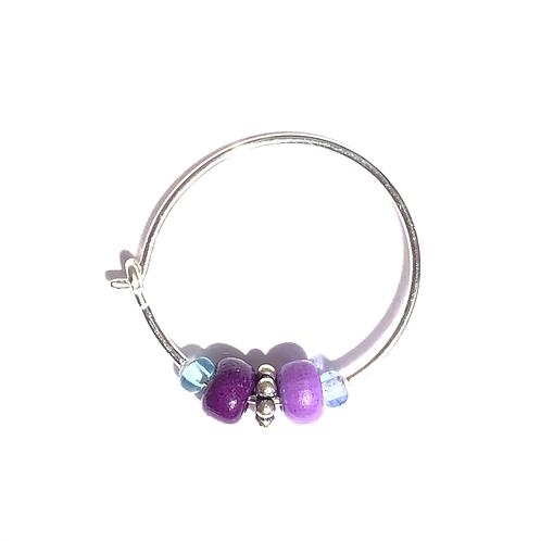 royal treasure sterling silver & purple glass mini hoop