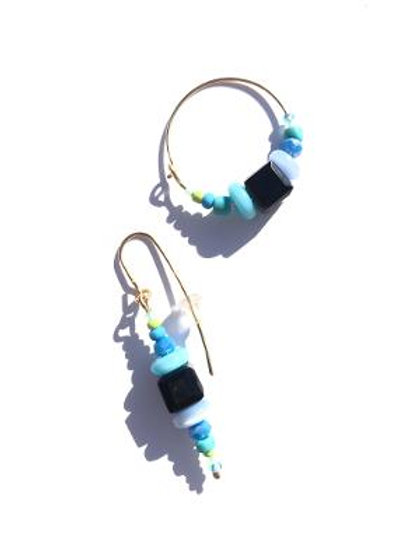 daylight and midnight black crystal & blue cat's eye earrings