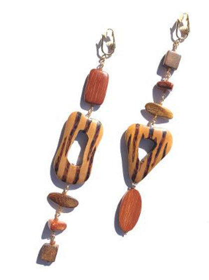 caravan crane caramel palm wood clip on earrings
