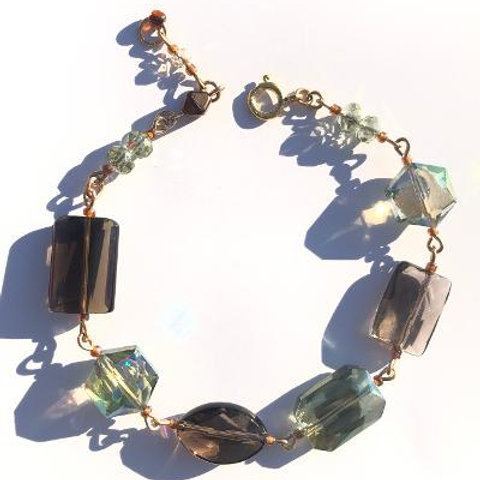 smooth fire smoky quartz & green crystal bracelet