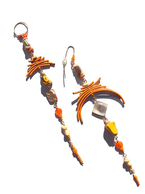 marigold madness orange leather, abalone shell & howlite earrings