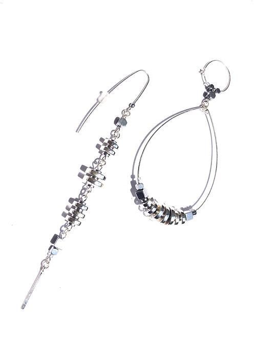 trips abroad sterling silver & quartz loop & straight earrings