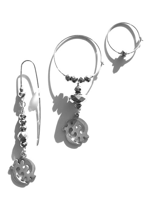 one goddess sterling silver gye nyame & crystal 3 piece earring set
