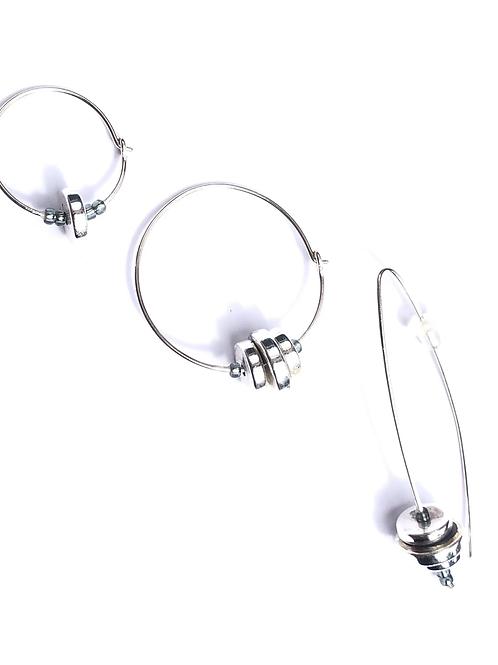 barbell sterling silver & quartz 3 piece earring set