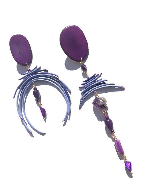 fearless purple tagua nut, leather, jade & amethyst earrings