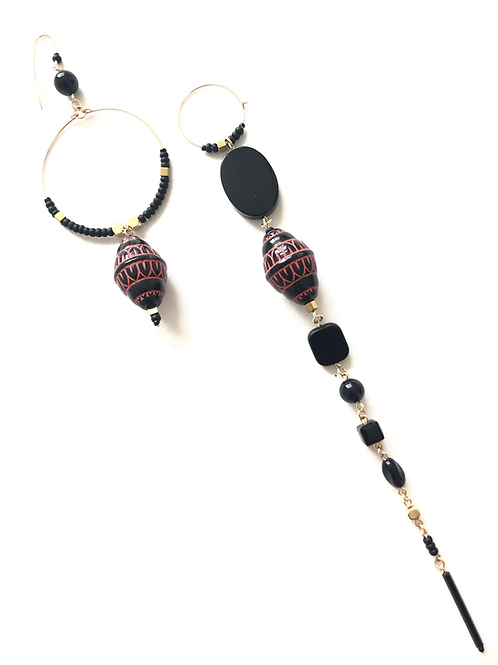 great balls of fire onyx, crystal & acrylic earrings