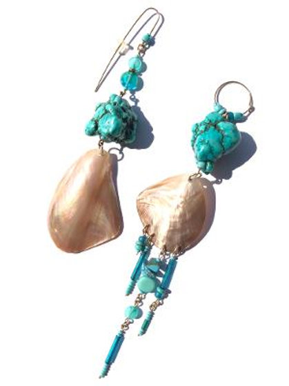 southwest skies turquoise & abalone shell earrings