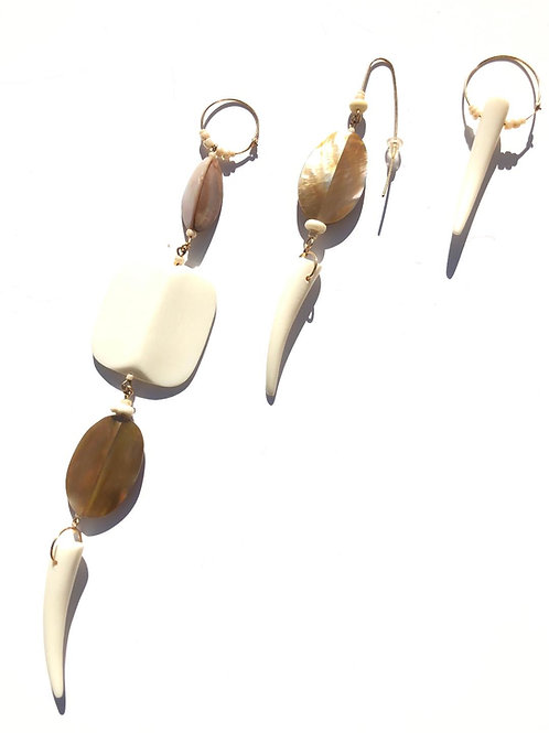 truth be told abalone shell & bone 3 piece earring set
