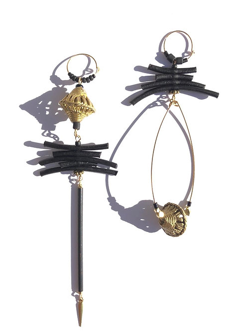new age panther black leather and brass earrings