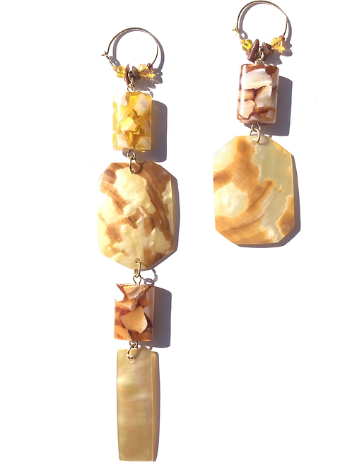 maple syrup sunshine mother of pearl & resin earrings