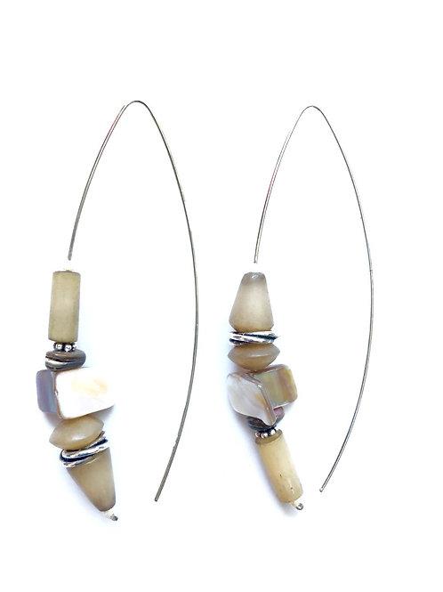 always lovin' sterling silver & khaki horn earrings
