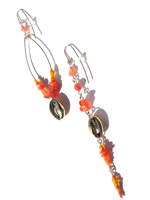 enthusiastically orange mother of pearl & cowrie shell earrings