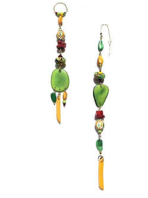summer fields tagua nut, african & venetian trade bead earrings