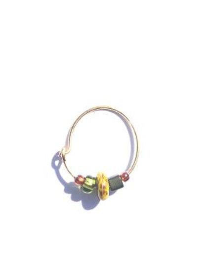 whacky khaki olive & caramel small single hoop