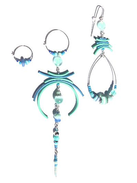 tickle me there blue & mint green leather & sterling silver 3 piece set