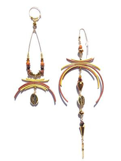 honey dripped bronze & gold leather, crystal & cowrie shell earrings