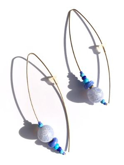 sky high cornflower blue  agate earrings