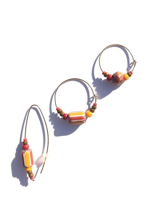 raspberries, peaches & cream trade bead 3 piece earring set