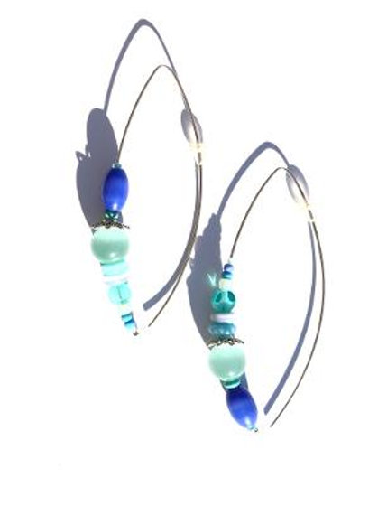 moment in time sterling silver, cornflower blue & mint green cat's eye earrings