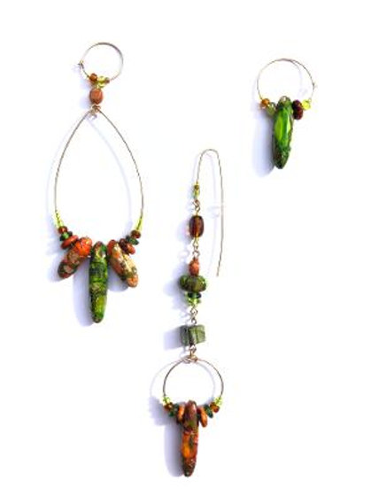 completely cool green & orange composite jasper 3 piece earring set