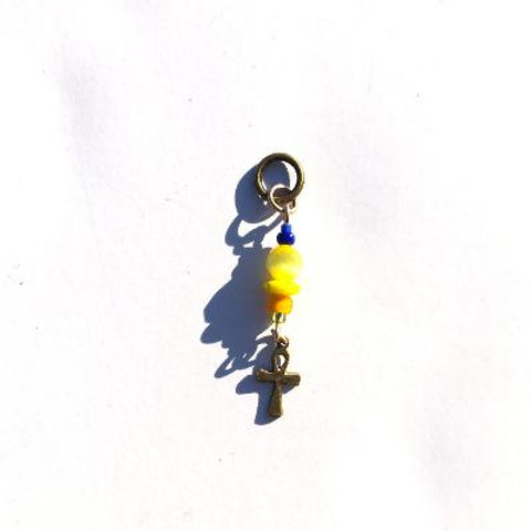 bees in the hive yellow cat's eye & blue glass loc charm with brass ankh
