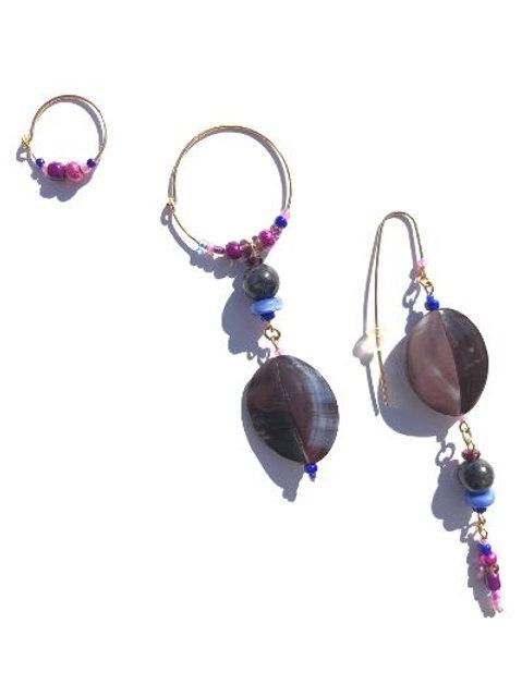 endless possibilities purple tellin shell 3 piece earring set