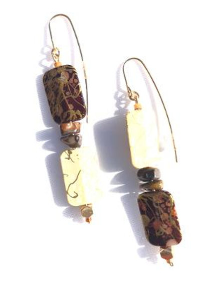 the temptress tiger eye & acrylic earrings