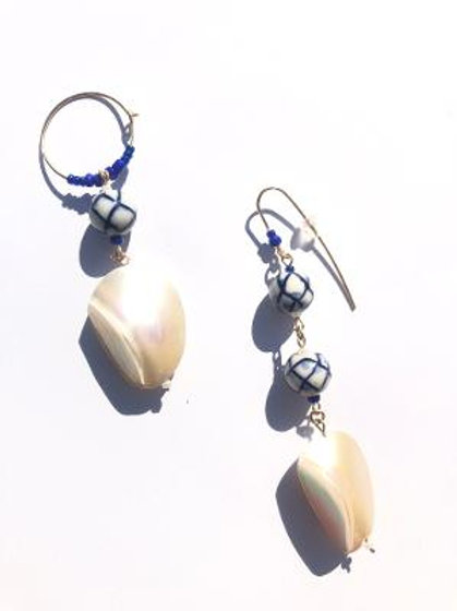 pure purpose porcelain & mother of pearl earrings