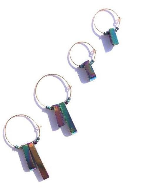 supernova blue, green & purple titanium quartz 4 piece set