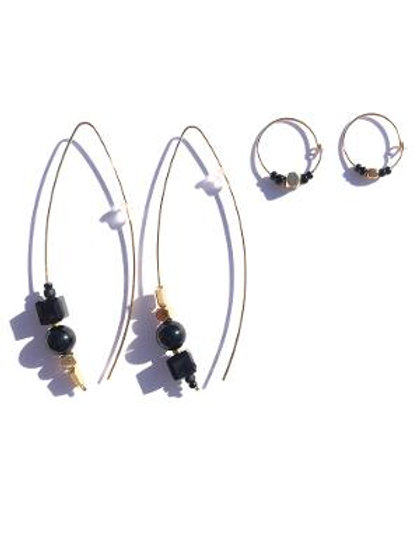 naughty nights black onyx & crystal 4 piece earring set