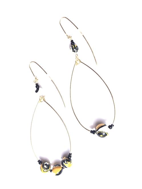 summer fields yellow , white & black loop earrings