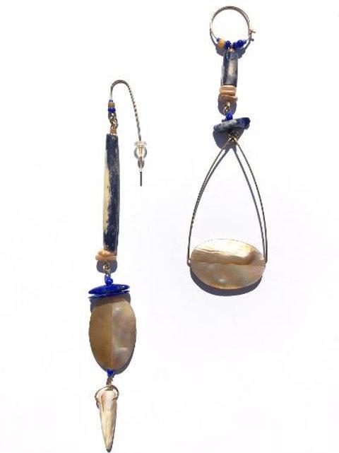 denim ready dyed navy blue bone, lapis lazuli & abalone shell earrings