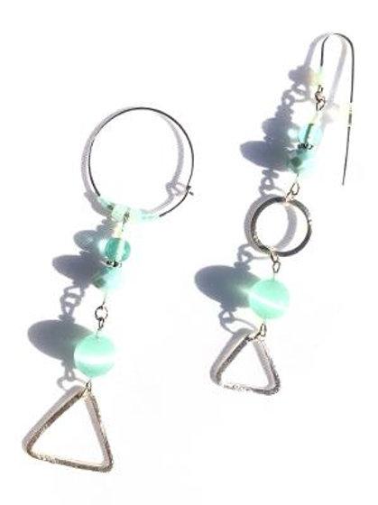 mojito mistress sterling silver & mint green cat's eye earrings