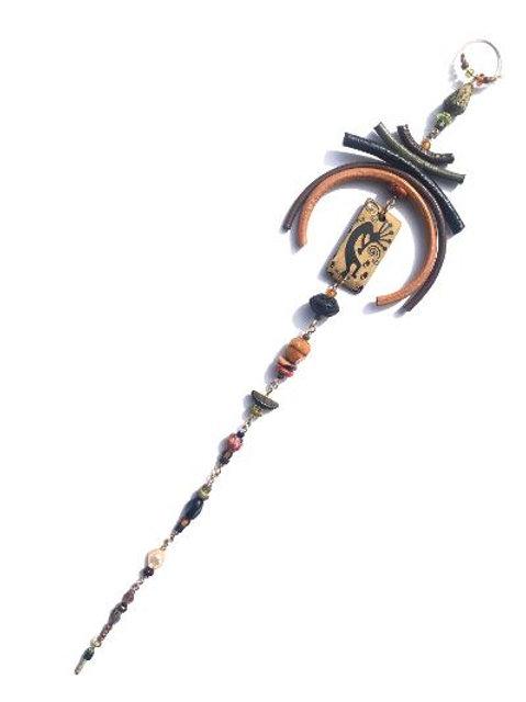 fantastical kokopelli, leather & lava stone tata tickler single earring